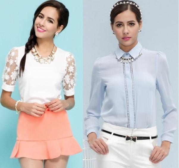Блузки шифоновые на 2015 год: на фото модели с коротким рукавом, летние белые и черные